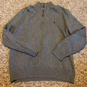 Polo men's gray quarter zip sweater medium